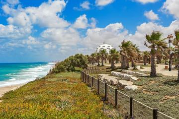View on promenade with palms along Mediterranean sea coastline.