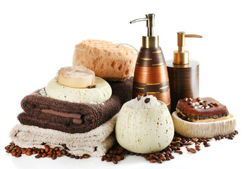 Composition of cosmetic bottles, soap and towel, isolated