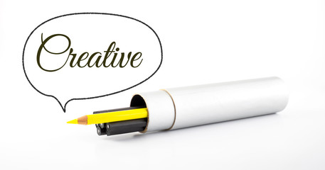 yellow pencil outstanding from black pencil with speech bubble a