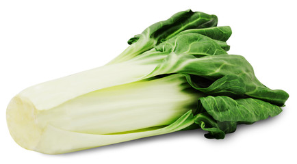Fresh green chard isolated on a white background