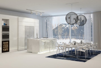 Modern Kitchen with Dining Table and Mountain View