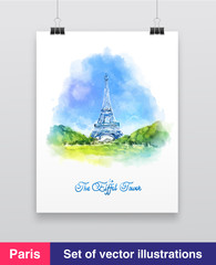 Watercolor vector illustration of The Eiffel Tower in Paris