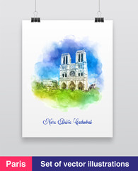 Watercolor vector illustration of the Notre dame cathedral from