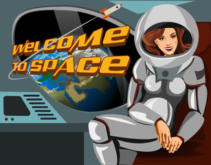 Beautiful woman astronaut in a spacesuit sitting  spaceship