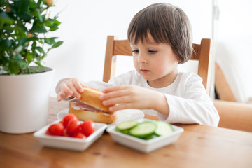 Beautiful little boy, eating sandwich at home, vegetables on the