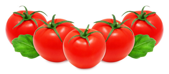 Fresh red tomatoes and basil leaves on white isolated backround