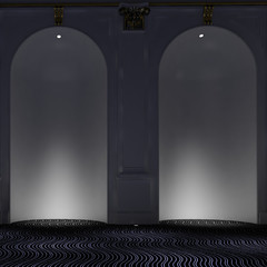 Two empty alcoves with down lights
