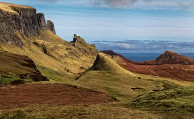 Scenic view of Quiraing mountains, Isle of Skye