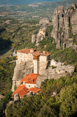 View of the mountains and monasteries of Meteora, Greece