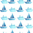 Leinwanddruck Bild - Seamless vector watercolor pattern with ships, boats on white