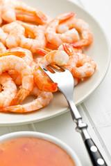 tasty prawns on plate