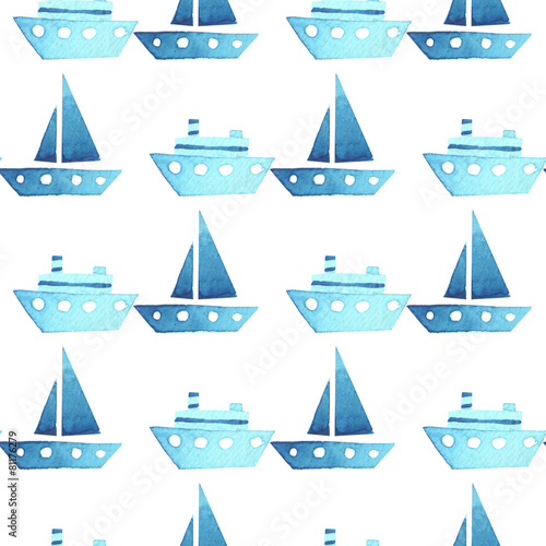 Leinwanddruck Bild Seamless vector watercolor pattern with ships, boats on white