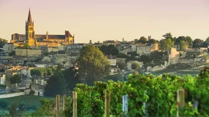 Time Lapse-Sunrise on the village of Saint-Emilion-Bordeaux Vine