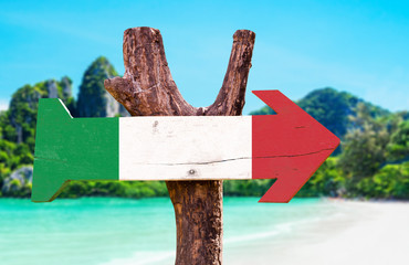 Italy Flag sign with beach background