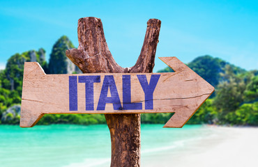 Italy sign with beach background