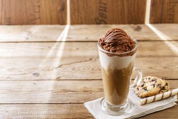 iced coffee with milk and chocolate ice cream