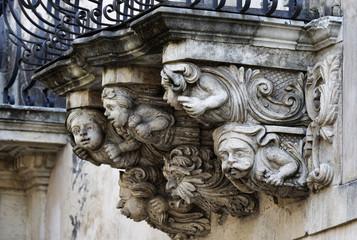 Italy, Sicily, Ragusa, Zacco Palace baroque facade and balconies