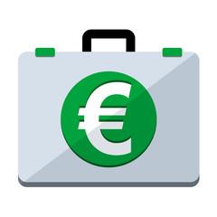 Icono maletin simbolo euro