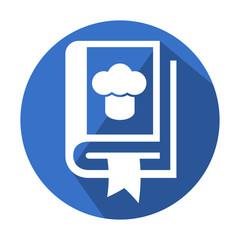 Icono redondo azul libro de cocina con sombra
