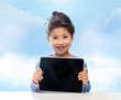 happy little girl with tablet pc computer