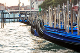 Closeup on Gondola in Canal Grande in Venice, Italy