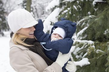 Mother and son - Winter time