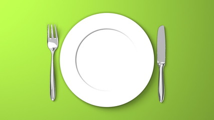 Top View Of Cutlery And Dish On Green Background