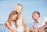 happy family having a picnic