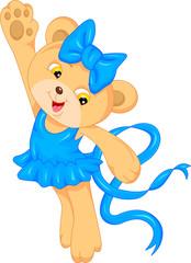 cute baby bear cartoon waving