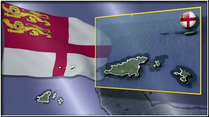 Sark flag and map animation FULL-HD