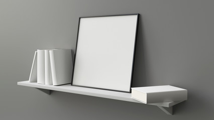 Composition of square picture blank frame on shelf with books