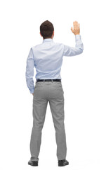 businessman waving hand