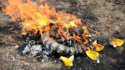 Burn joss paper or hell money in The Qingming Festival