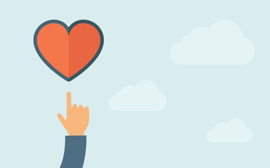 Hand pointing to heart icon