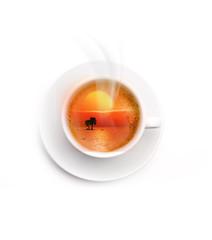 Kaffeetasse mit Sonnenuntergang