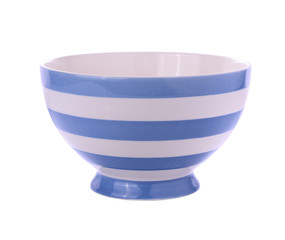 striped bowls isolated on white