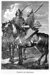 Ратники в тегиляях и железных шапках на лошадях