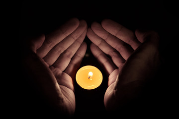 Candle in the hand, Hope concept