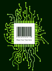Barcode label on green shyne PCB board style background