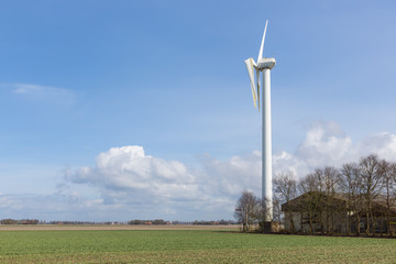 Damaged wind turbine after a heavy storm in the Netherlands