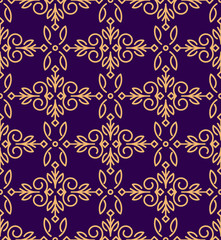 Rich decorated mono line style vector seamless pattern in gold a