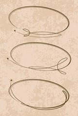 Set of 3 oval frames on a grunge style background