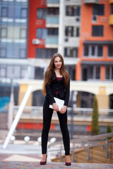Portrait of Successful young business woman.outdoors