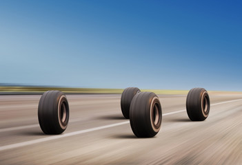 wheels rush on the road