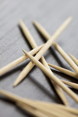 Pile of wooden toothpicks hygiene concept