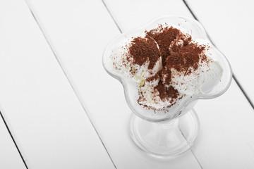 ice cream with chocolate shaving