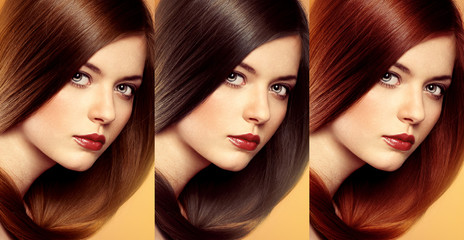 Hair colors and tones. Lovely woman with various hair tints