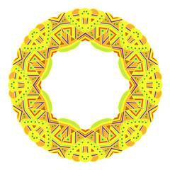 Ornamental round frame. Ethnic pattern