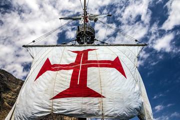 Sailing of vintage vessel Santa Maria da Colombo, Funchal, Madei