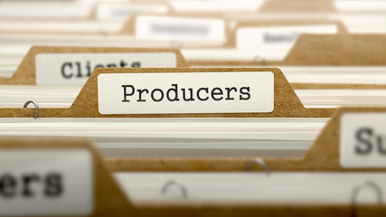 Producers Concept with Word on Folder.
